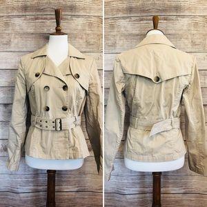 Old navy short trench coat jacket medium tan